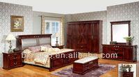 Vintage Design Panel Bed W Back Cushion,Classical Natural Wooden Bedroom Set,Korean Wooden Bedroom Furniture Set