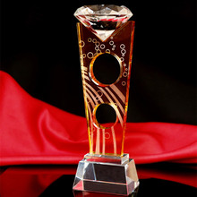 Diamond Crystal Glass World Cup Trophy For Sport