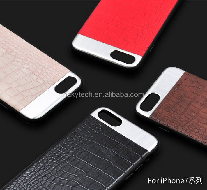 Factory price wholesale alligator skin pu leather +pc cell phone case for iphone 7/7 plus