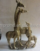 brass or bronze carving giraffe of family father mother and child animal