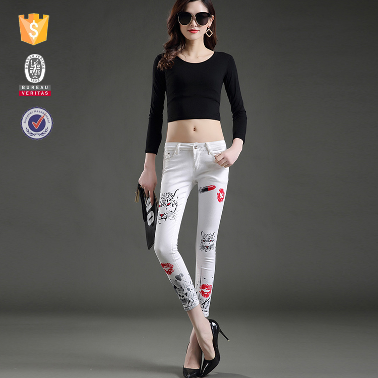 OEM customize 95%cotton 5%spandex women fashionable tight jeans leggings pants from china