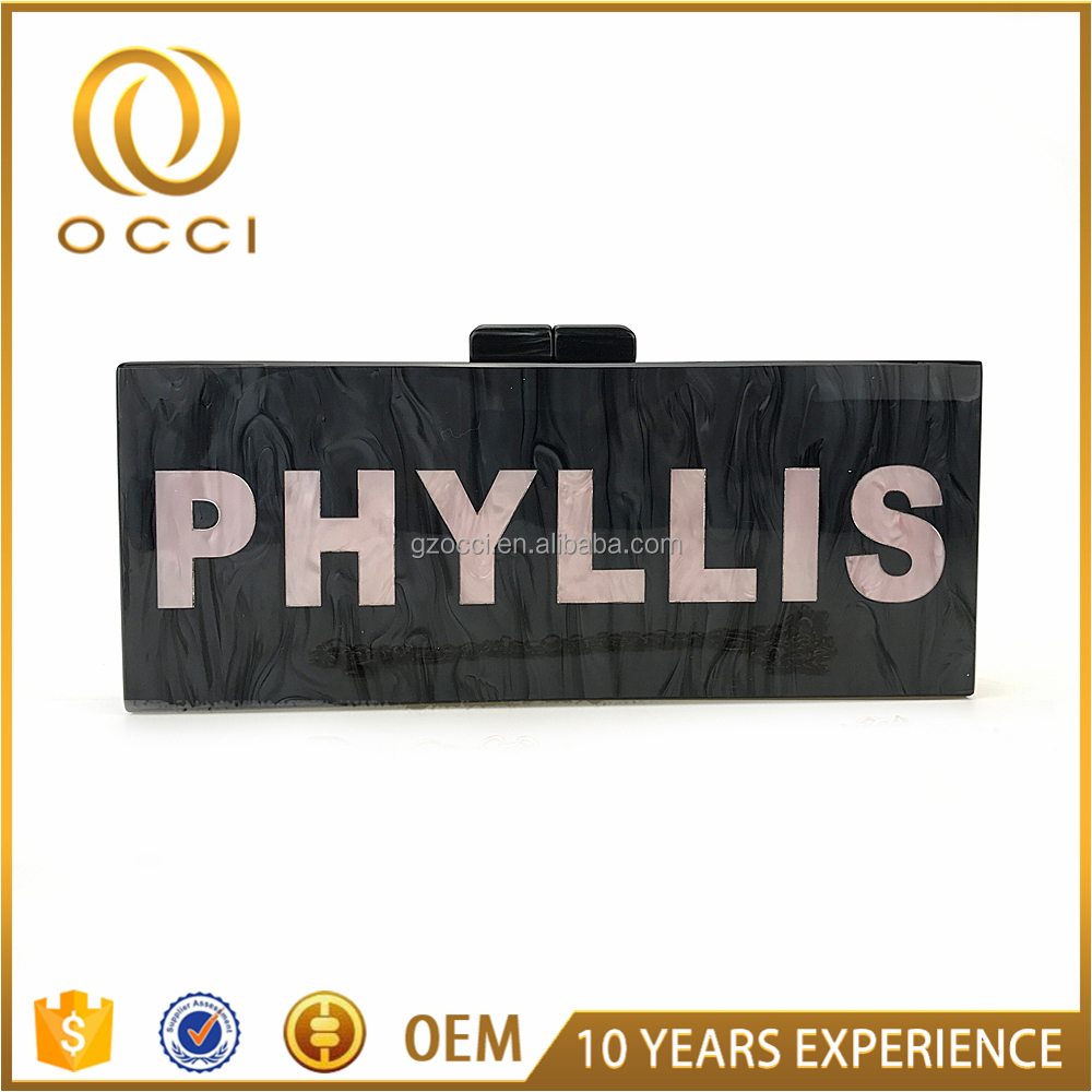 Factory personal custom english letter acrylic clutch bag OC3263