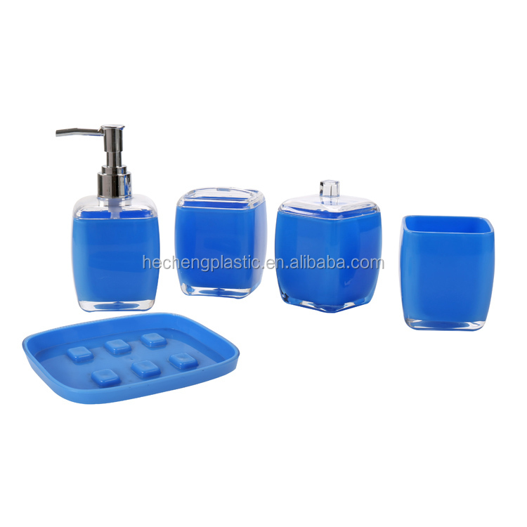 Bath Gift Set Beautiful Plastic 5pcs Double Wall Acrylic Bathroom Set