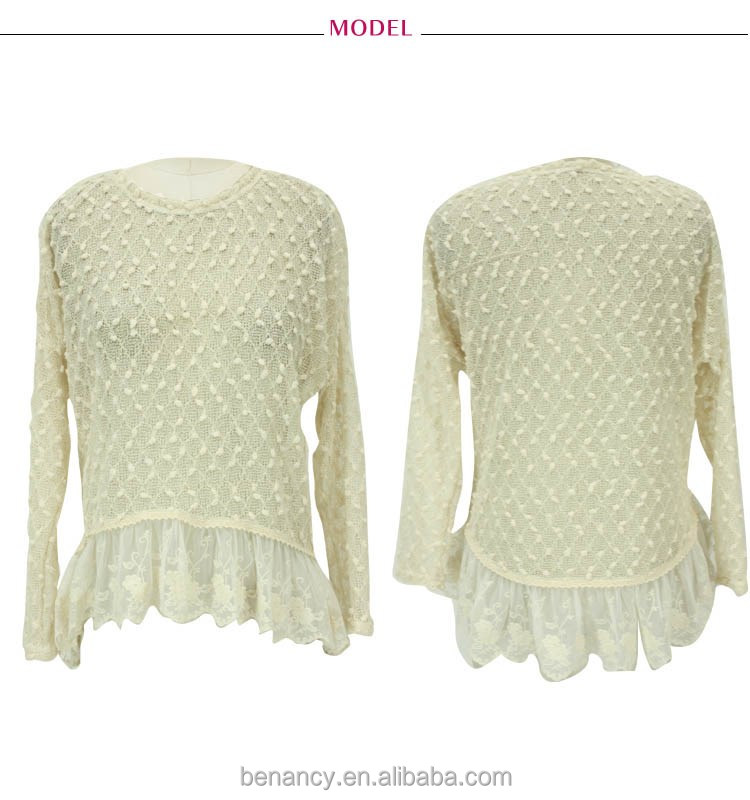 China Factory New Mesh Blouse with Frill Lace Hem