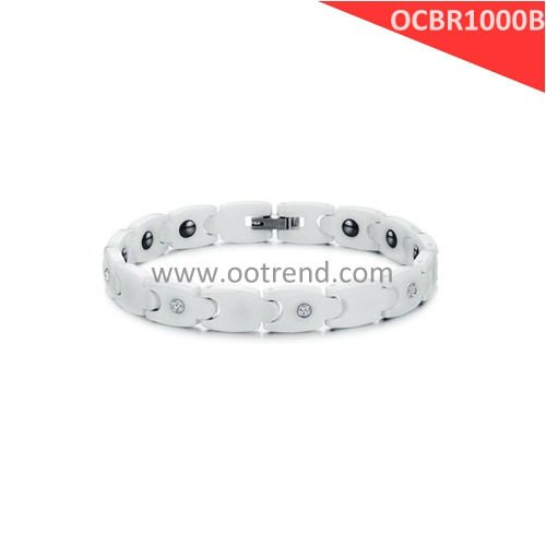 Trendy White Ceramic Bracelets,with germanium and CZ stone inlaid