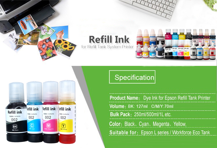 New 003 Series Water Based Dye Ink Suitable For Epson L3110 L3111 L3150 Eco  Tank System Printers - Buy New 003 Series Water Based Dye Ink Suitable For