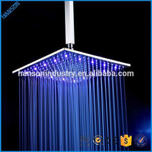 12 Inch square Brass Bath Ceiling LED Colors Rain Shower Head