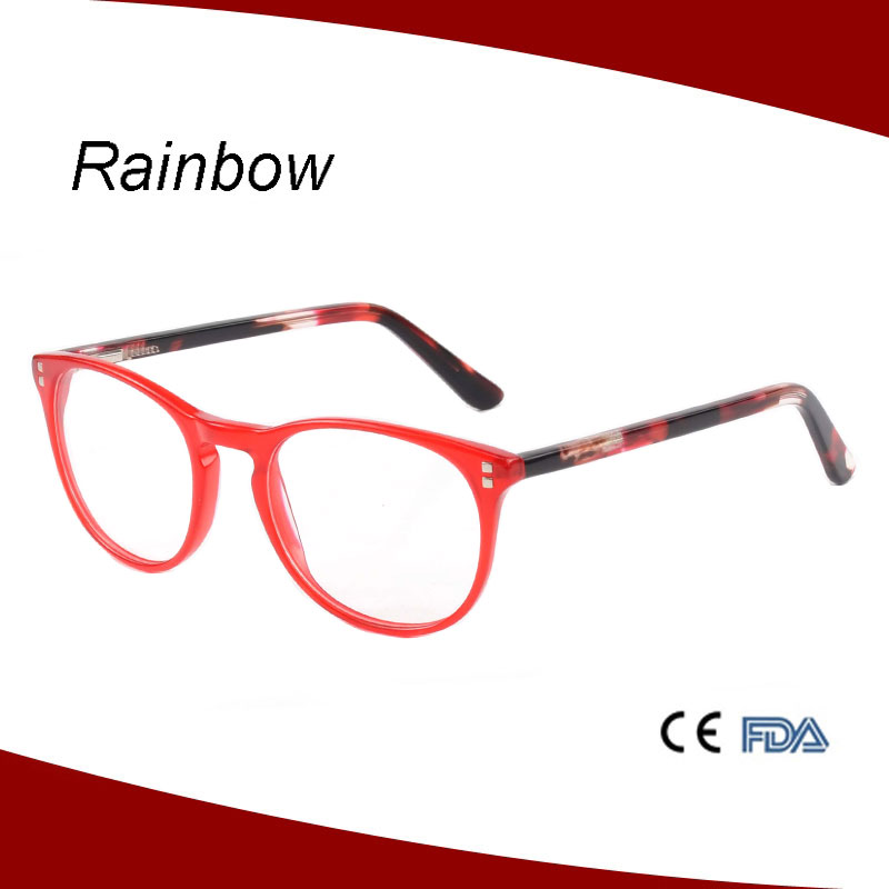 Spectacle acetate for women transparent color design with pattern temple zyl frames
