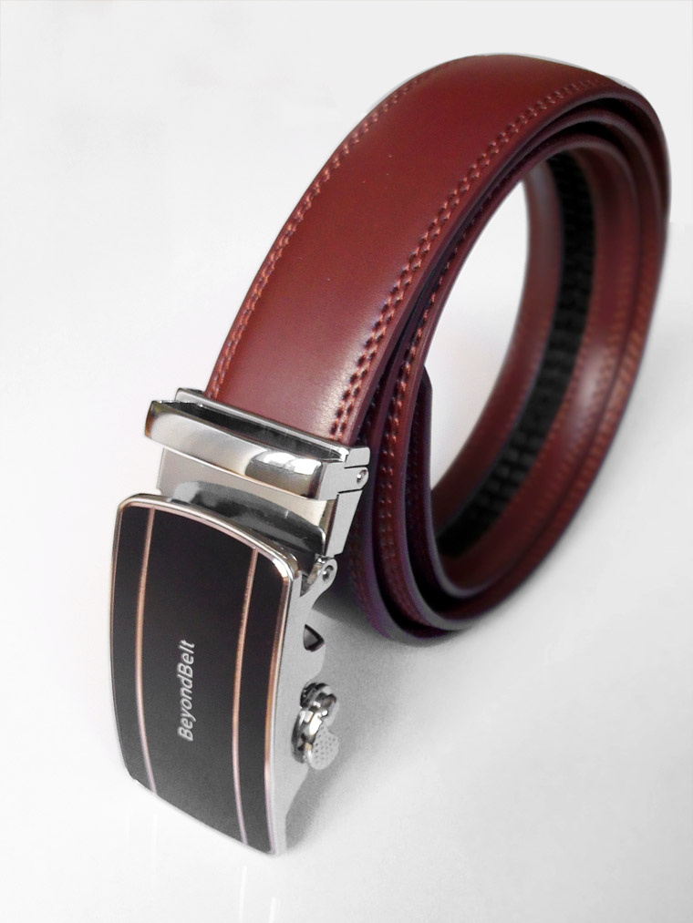 3.5cm Wine Red Geniune Leather Ratchet Belt with Sliding Buckle