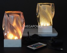 Cordless Inductive Rechargeable Twist Glass LED Table Lamp for Hotels and Restaurants