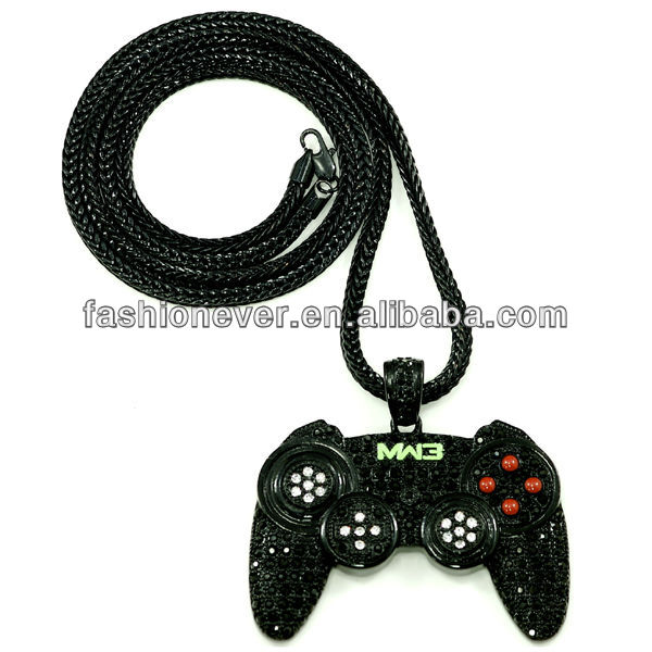 "Iced Out New Game Controller Necklace Chain Piece 36"" Franco Style Chain MW3"