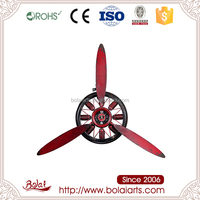 Unique design red color silent non-ticking metal modern arts wall clock