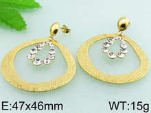 47x46mm Crystal Bulk Indian Fashion Jewelry Wholesale Gold Plated Earrings