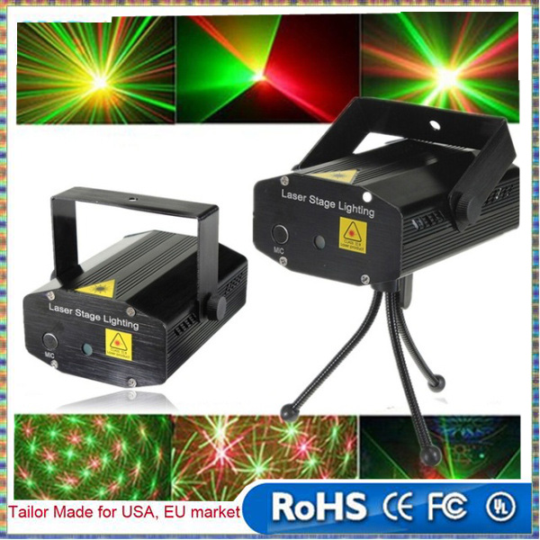XL-S-D06 Mini Voice Automatic Control R&G Laser Lights Lighting Projector Disco DJ Stage Xmas Party Show Club Star Bar + Tripod