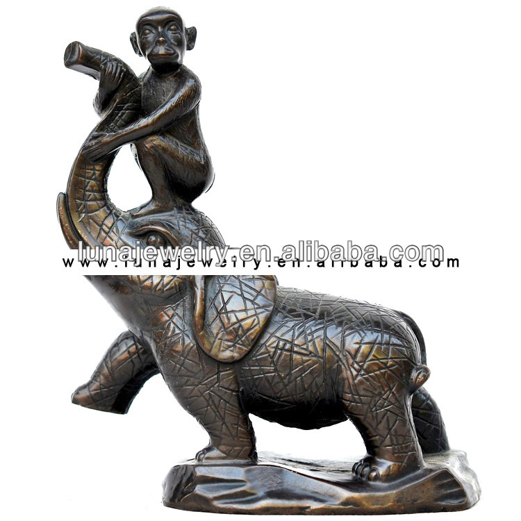 Fabulous Hong Tze Collection-Triple Chinese zodiac animals Monkey Statue,Monkey in the elephant