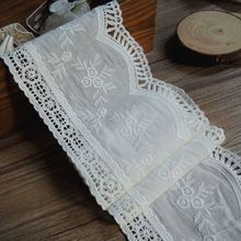 (5 yards/lot) cotton hollow embroidered lace trimming fabric high quality width 10.6cm -JZHB