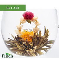 Hot Sale 2015 New Chinese 100% Handmade Blooming Flower Green Tea Ball Made of Calendula And Jasmine Flower