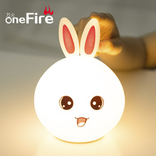 Onefire LED Night Light Multicolor Silicone Cute Rabbit Colorful Nightlights For Children Room