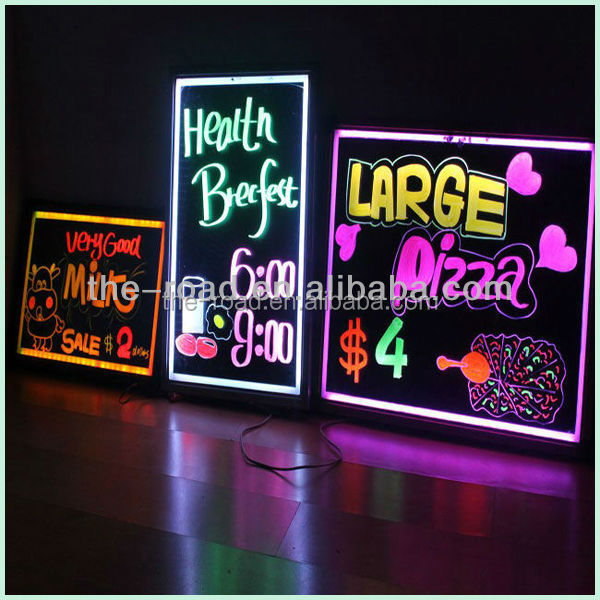 Aluminum Frame Advertising Sign Outdoor Moving Advertising Electronic Neon Effect Led Writing Board