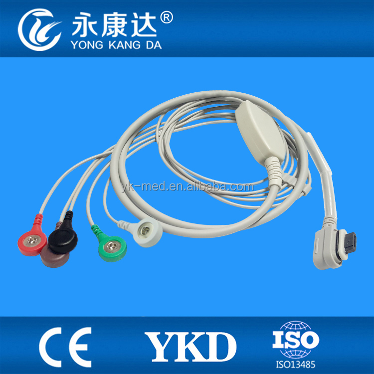 GE-Seer Light one piece 5 leads Holter Recorder ECG cable , AHA snap with TPU material surgical supplies