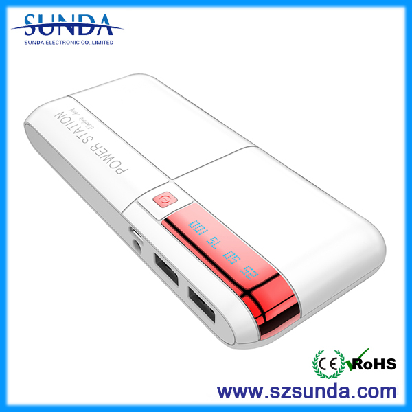 15000 mAh Portable External Charger with 2.1A output (White)