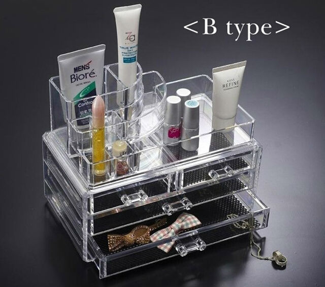 cheap price crystal cosmetic display holder with draw/plastic makeup storage boxes