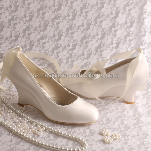 (15 Colors)Women's Pumps Wedge Heel Wedding with Ribbon