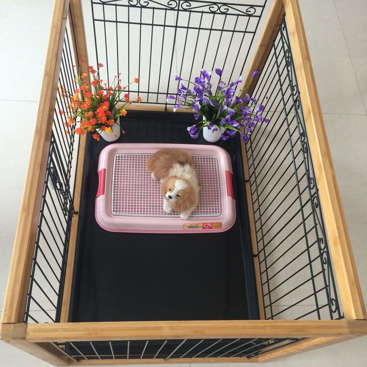 Redhill Eco-friendly indoor folding pet cage wooden dog cage with iron wire