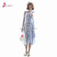 Summer new design Korean style retro print chiffon long maternity maxi dress