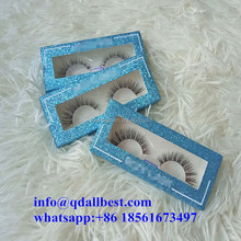 Wholesale Blue Glitter Private Label Eyelash Packaging Box