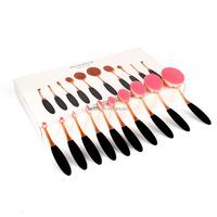 Manufacturers 10 Pcs Soft Oval Toothbrush Cosmetics Black Makeup Brush Set with Box
