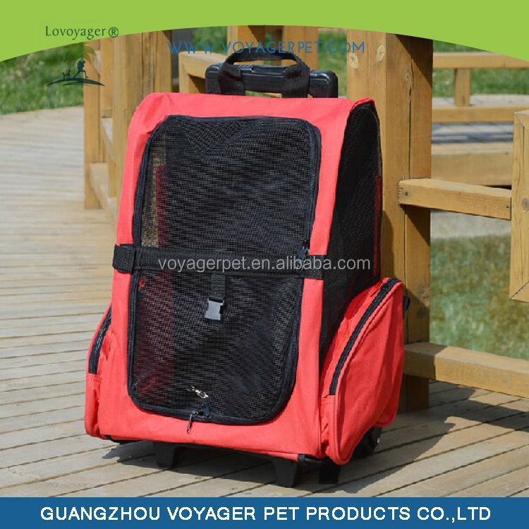 Lovoyager Red Style Foldable Pet Backpack Carrier with Wheels Pet Stroller
