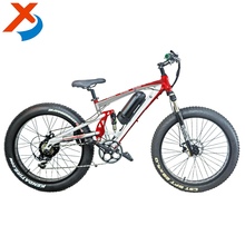 Manufacturer selling 26 * 4.0 inch 250 - 500W motor full suspension fat tire electric bike / electric mountain bicycle