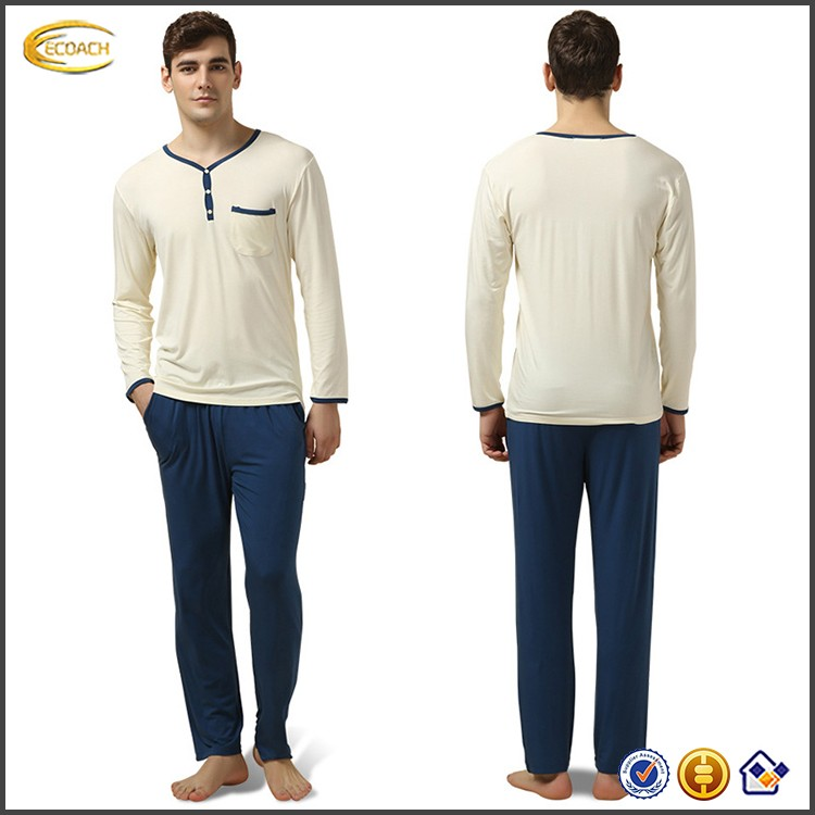 Ecoach Wholesale OEM Color Block V-neck Elastic Waistband Modal Fabric Nightgown Long Sleeve Pajamas For Men