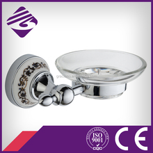 JN160339 Zinc Alloy Chrome Glass Dish Wall mounted Ceramic Soap Holder