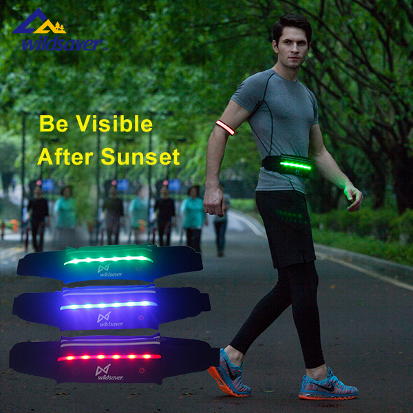 neoprene reflective led sport running belt waist pack pouch for treadmill