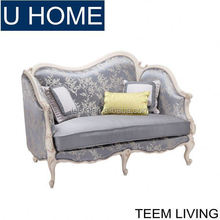 TEEM FURNITURE living room furniture frech style antique light blue 2 person sofa