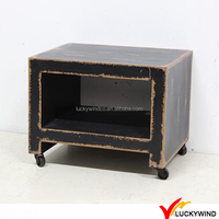 Distressed Black Solid Wood Bedside Table with Wheels
