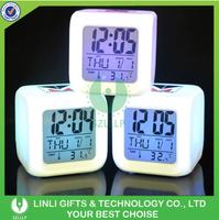 Led Desk clock, Glow Led Cube Clock,Led Light Up World Digitl Alarm Clock