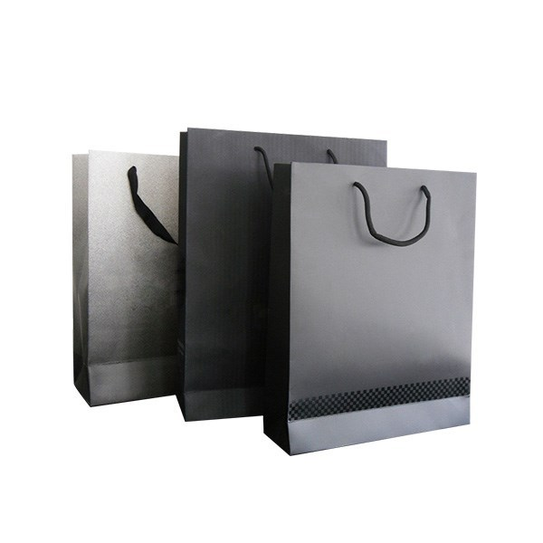 Wholesale custom all kins of recycled paper black shopping bags