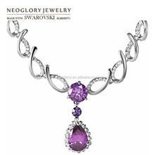Neoglory Rhinestone Zircon Fashion Charm Chain Bib Necklaces Engagement Jewelry Romantic Brand Made With Swarovski Elements