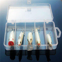 Hot sale 5pcs/lot Luminous Simulation Night Fishing Lure Hook Bait with Fishing Tackle box case accessory
