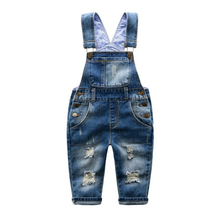 Fashion kids denim ripped suspenders jeans 2017