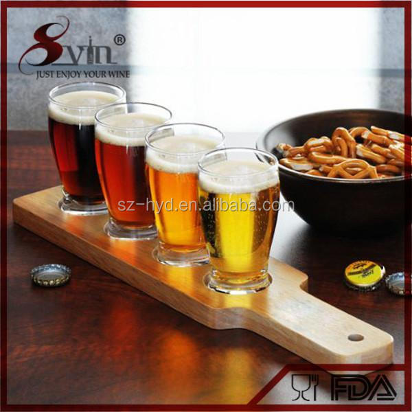 NewTide 6 oz beer glasses wooden tray Beer Flight