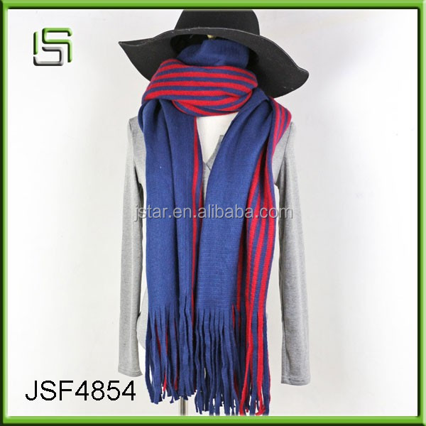 Wool knitted warm scarves vertical stripes shawls scarves ladies dual - use scarf fringed shawls