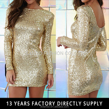 Alibaba express dresses woman bodycon mini long sleeve gold sequin dress