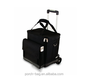 wholesale ice cooler bag with wheels, custom trolley insulated cooler bag