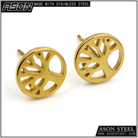 2015 Fashion round shaped little tree 18k gold plated stud earrings Guangzhou manufacturer