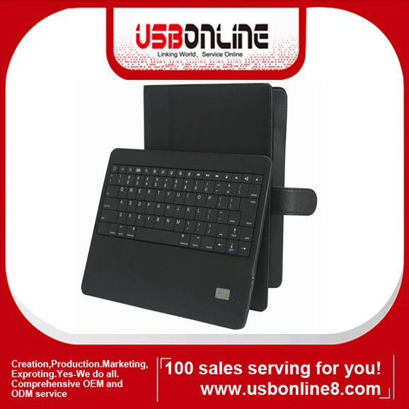 Durable Genuine Leather Bluetooth Keyboard leather case cover for iPad 2 iPad 3