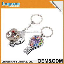 2015 novelty tourist souvenir gift nail clipper keychain with bottle opener function